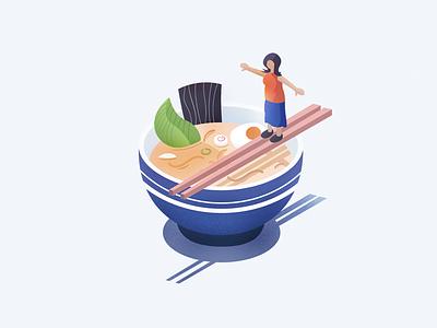 Ramen Bowl grain texture illustration vector isometry isometric food ramen