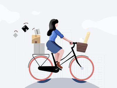 Biking outside boxes baguette girl outline artwork illustration bike groceries flat vector