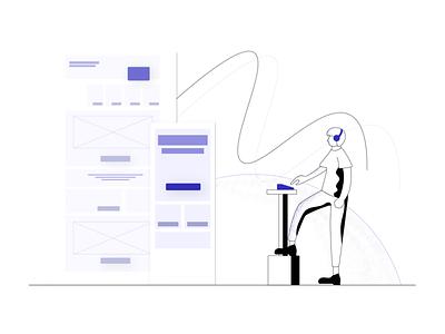 Work in progress designer work experimental alternative grainy outline illustration
