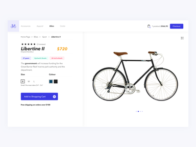 Bike ecommerce shot desktop web biking ecommerce