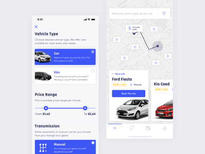 Rent-a-car apple notch carsharing vehicle rental mobile clean minimal ux ui iphone x car app