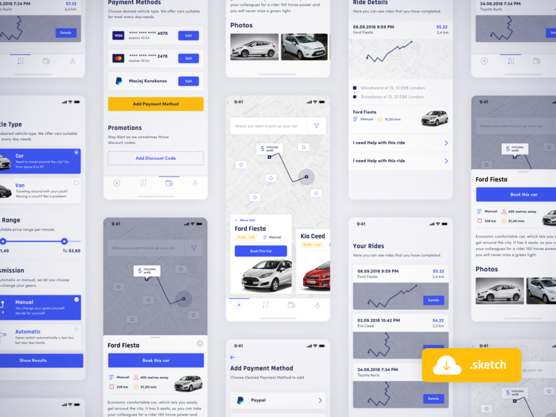 🚗 Vehirent sketch freebie ui sketch clean free freebie car sharing iphone x app