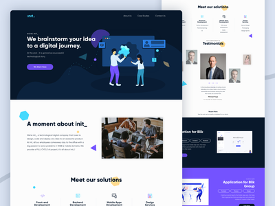 Init Landing Page ui web design vector illustration desktop landing page