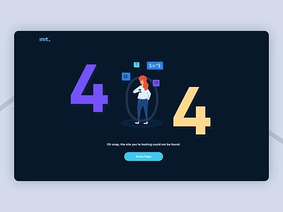 404 Init website vector desktop web illustration 404 error page