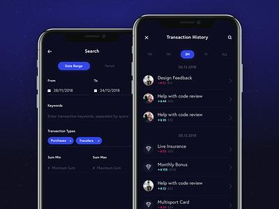 Xoin transfer interactions dark ui app product mobile ux ui iphone x