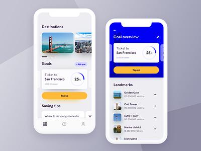 Travel app cards minimal product iphone x ios mobile uiux ui