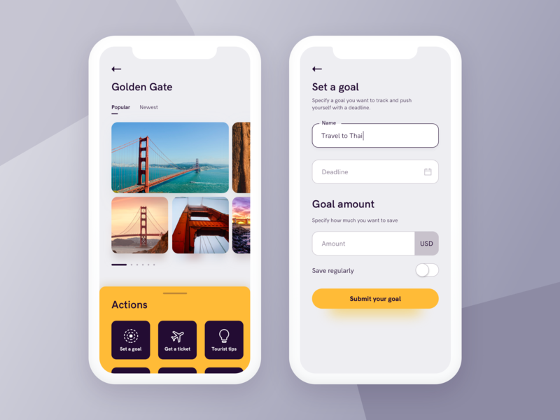 Travel app - setting a goal
