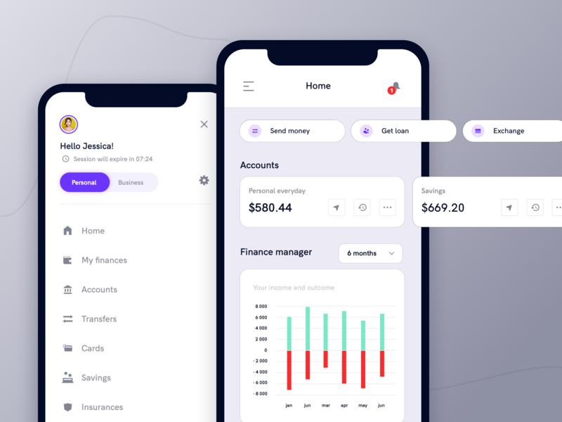 Banking app - mobile dashboard