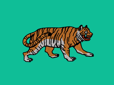Lonely tiger procreate logo lonely sad tiger illustration