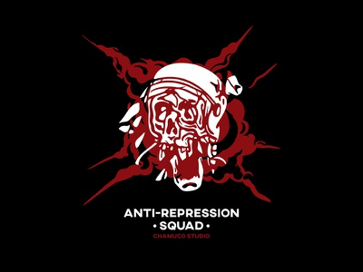 ANTI-REPRESSION SQUAD chamuco punk anarchy vandalism illustrator skull graphicdesign characterdesign design illustration