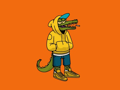 Raptiliano vandal street fashion reptilian crocodile illustracion animal characterdesign design illustration