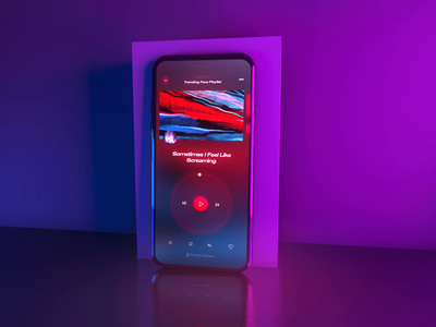 Youtube Music Player application cinema4d 3d lights ios iphone mobile interface youtube music player music player animation motion ui