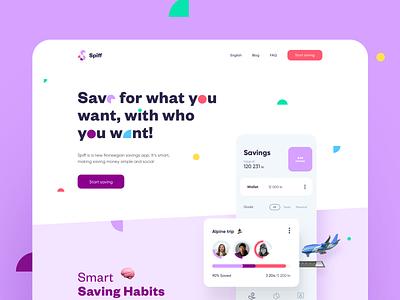 Spiff Landing Page saving app save money website landing landing page design web ui