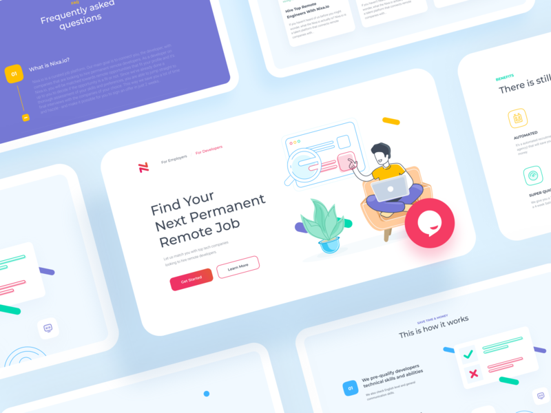 Landing page for global, remote job service Nixa branding ui  ux remote work hiring offers jobs nixa job offer website colorful landing landingpage design ui illustration web
