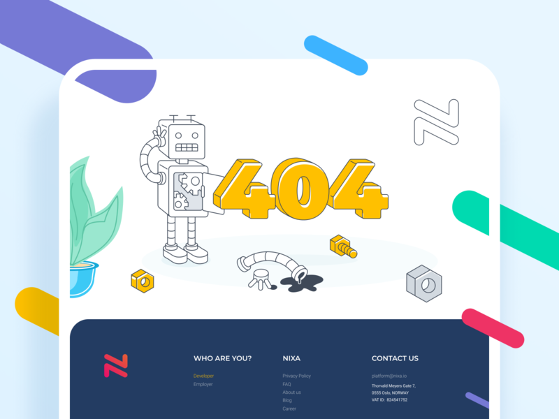 Nixa - 404 Error page error 404 error 404 page 404 web branding minimal design graphic icon vector illustration website ui
