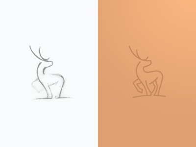 Deer mark vector icon drawing sketch deer sign mark logo