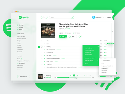 Spotify Concept, White Theme concept redesign music player spotify brand app graphic design website web ux ui
