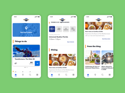 Universal Orlando app home redesign