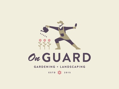On Guard man person landscaping fencing flower gardening