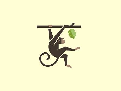 Monkey illustration logo animal leaf monkey