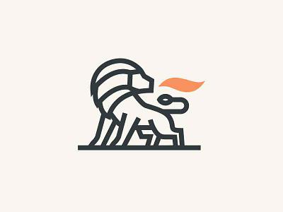 lion animal fire icon logo lion