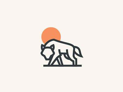 wolf strong animal sun icon logo wolf