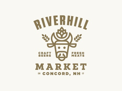Riverhill market meat cow beer illustration icon logo