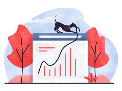 Dog Graph graph chart team dog website illustration