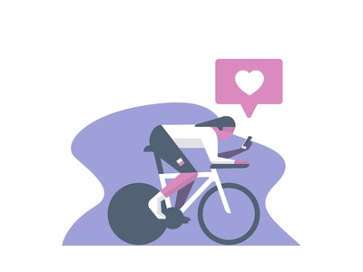 Cyclist mobile likes social cycle cycling website illustration