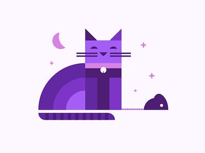 Cat2 mouse cat animal logo icon illustration