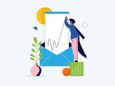 bl stats email marketing email design website illustration