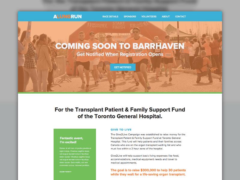 A Lung Run Site Redesign organ donation race