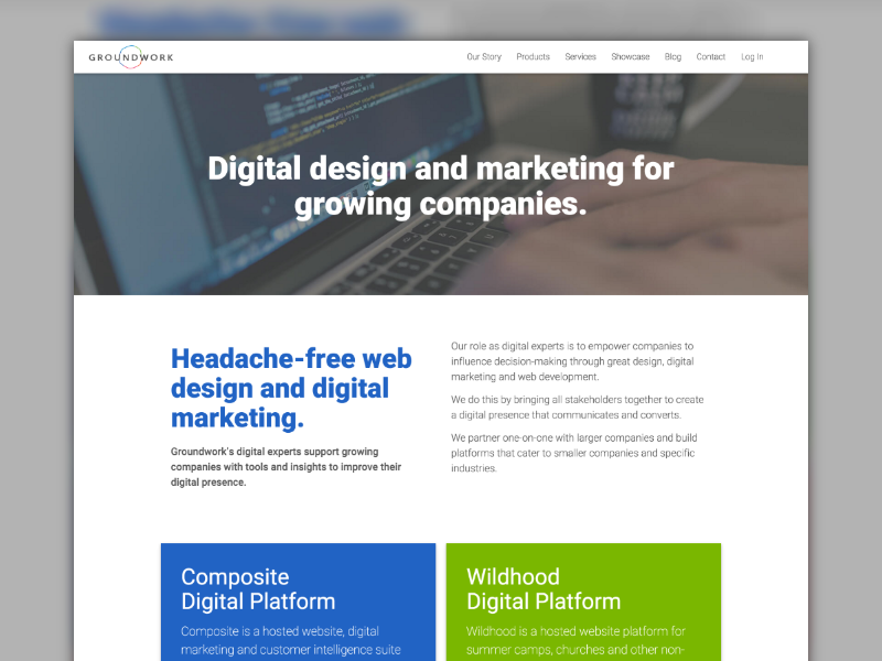 New Groundwork Homepage material design wordpress web design made with invision