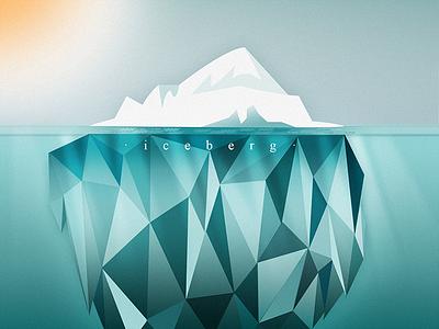 Iceberg illustration sun lowpoly water winter blue cold ice iceberg