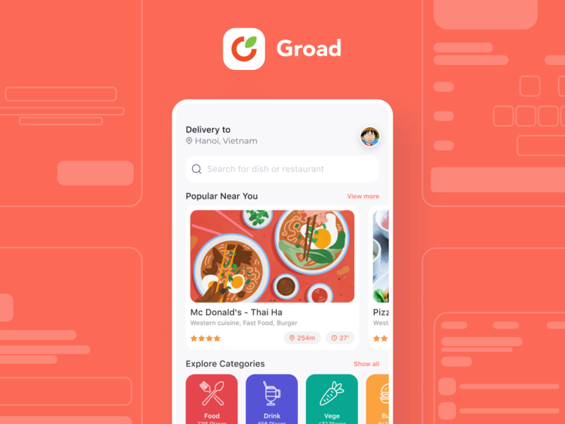 Groad - Food Ordering System casestudy food delivery booking ordering app ux layout interface design ui