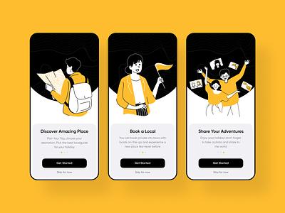 Oloha - onboarding travel app vector illustration yellow onboarding layout interface design ui