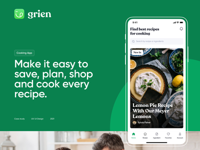 Grien - Cooking App ux web website layout ui interface design