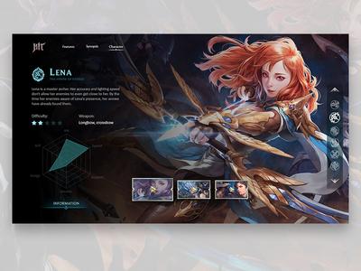 HIT - Characters information screen landing page nexon ui game hit