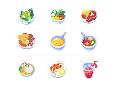 Food Icon - Free download steak salad food and drink branding art colorful illustration design food icon