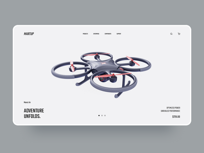 Martup - Drone Landing Page drone slider ecommerce clean web layout website interface design ui