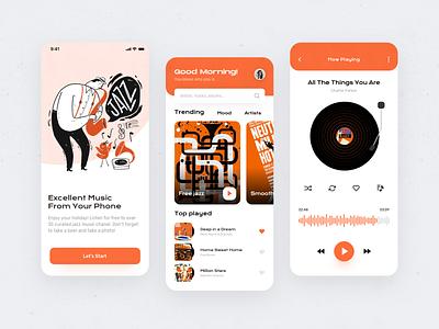Music app UI case mobile ui vinyl mobile illustration application onboarding music player music app layout interface design ui
