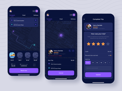 Giallo - Ride-hailing app transport car delivery taxi app ux layout interface design ui