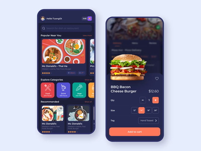 Giallo - Food delivery app food transport ux christmas light dark delivery app delivery design ui