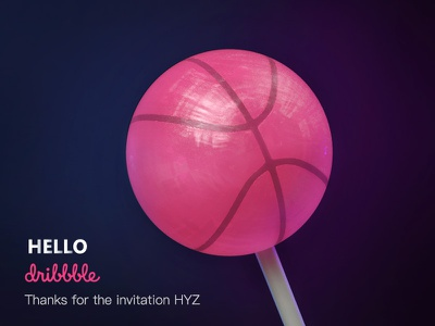 Hello Dribbble candy invite sugar sweet pink lollipop dribbble hello