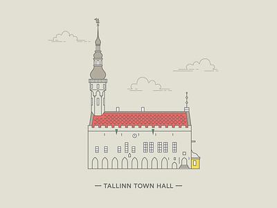 Raekoda – Tallinn Town Hall building tallinn raekoda town hall architecture illustration line