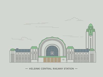 Päärautatieasema – Helsinki Central railway station window facade clock station helsinki line illustration building architecture