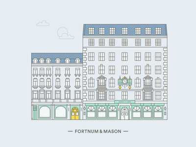 Fortnum & Mason clock window facade fortnums london line illustration building architecture