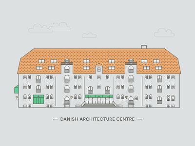 Danish Architecture Center roof urban city denmark copenhagen window facade line illustration building architecture