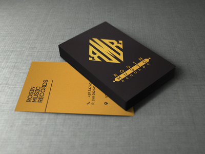 Rosin Music Records Business Card Mock-Up business card design mock-up monogram branding design logo logotype business card