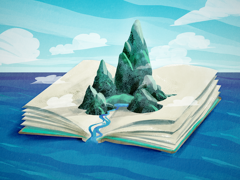 L'Isola delle Parole island book photoshop art poster artwork flyer illustrations illustration art photoshop illustration